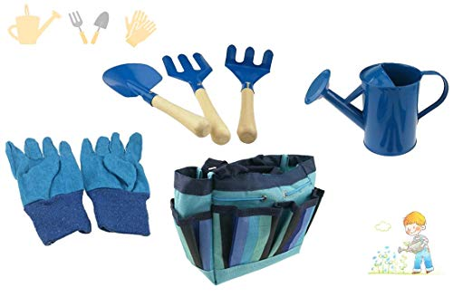 Children's Garden Tool Set with Tote Hand Rake Shovel Fork Watering Can Gloves Kids Garden Toys (Blue), gardening is a great way to prevent summer brain drain for kids during the long school summer holidays