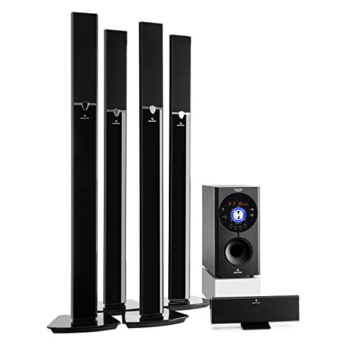 auna Areal 653 • Surround Sound System 5.1 • home theater • impianto casse • 145 Watt RMS • subwoofer a diffusione laterale 16,5 cm (6,5') • 5 casse satellite • Bluetooth • USB • SD • AUX • nero