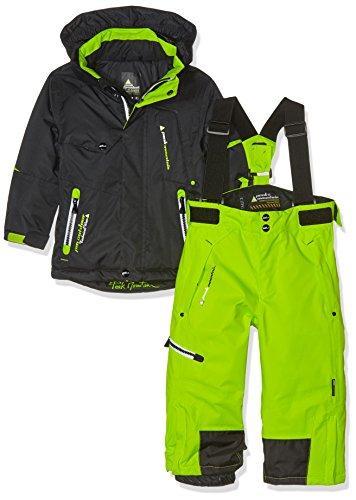 Peak Mountain - Completo maschile da sci, Ecosmic, Ragazzo, Nero/Verde lime, 3 anni