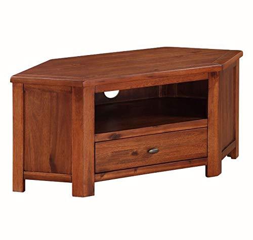 Generic - Mobile porta TV ad angolo, in legno di mais, colore: scuro