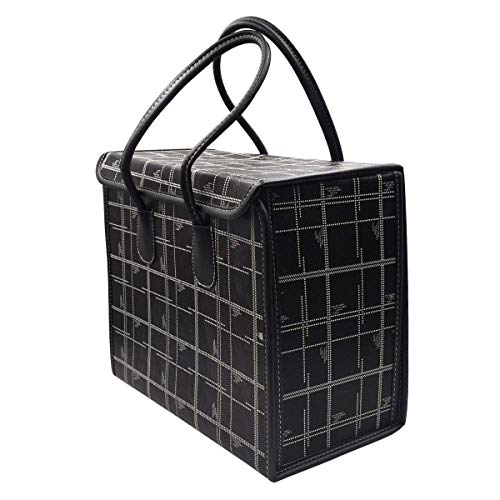 Delavala Reusable Grocery Bags Set Shopping Box with Reinforced Bottom Heavy Duty Premium Collapsible Foldable with Long Handles Storage Boxes Eco Friendly Bins Cubes (Black)