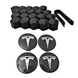 benignpoet Aero Wheel Cap Kit,For Tesla MODEL X S 3 Wheel Hub Kit (4 Hub Center Cover + 20 Ear Nut Cover)