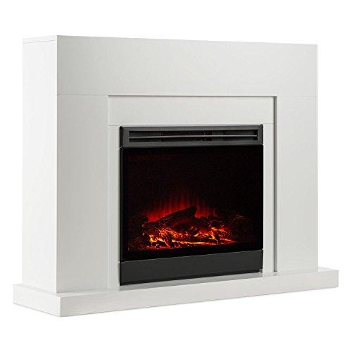 Klarstein Blanca Chimenea eléctrica simulación de llamas (potencia de 750/1500W, para espacios de hasta 40 m², estilo lounge, mando a distancia, simulación independiente del calor) - blanca