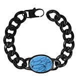 Zivom® Salman Khan Rope Black Rhodium Plated Turquoise 316L Surgical Stainless Steel Bracelet Men Gift