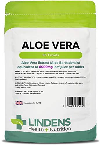 Lindens Compresse di aloe vera da 6000 mg | 90 Confezione | Estratto concentrato, equivalente a 6000 mg di succo di foglie di aloe vera