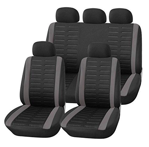 upgrade4cars Copri-sedili Auto Universale Nero Grigio   Set Copri-Sedile Universali per Anteriori e...