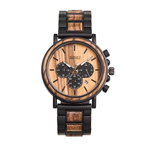 Unikat Herren Männer Chronograph Holzuhr Armbanduhr Holz Edelstahl Zebraholz Schwarz 44mm