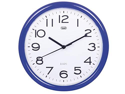Trevi OM 3301 Orologio da Muro al Quarzo con Movimento Silenzioso Sweep, Diametro 24 cm, Blu, plastica, rotonda