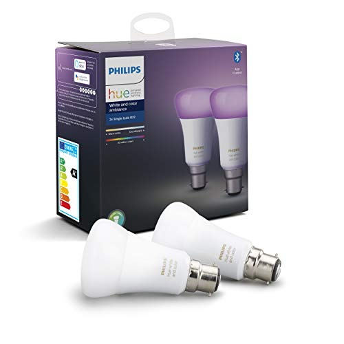 41T53YMx13L Bon Philips Hue !  Philips Hue Ampoules LED Connectées White & Color Ambiance B22 Compatible Bluetooth, Fonctionne avec Alexa Pack de ...
