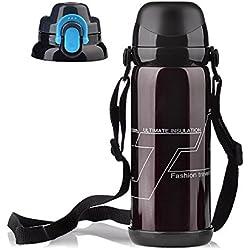 Zantec Getränkeflasche, Edelstahl Vakuumisolierte Getränkeflasche Tragbare große Kapazität 800ML 2 in 1 Multifunktions Reisebecher mit 2 austauschbare Deckel
