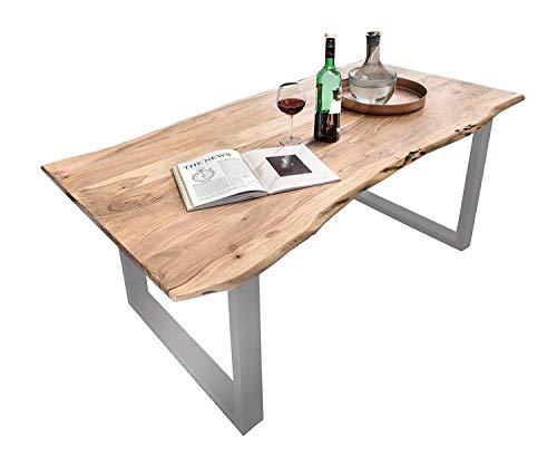 SAM Baumkantentisch Quarto, Akazien-Holz massiv, Esszimmertisch mit silbernen Metallbeinen, 120 x 80 cm
