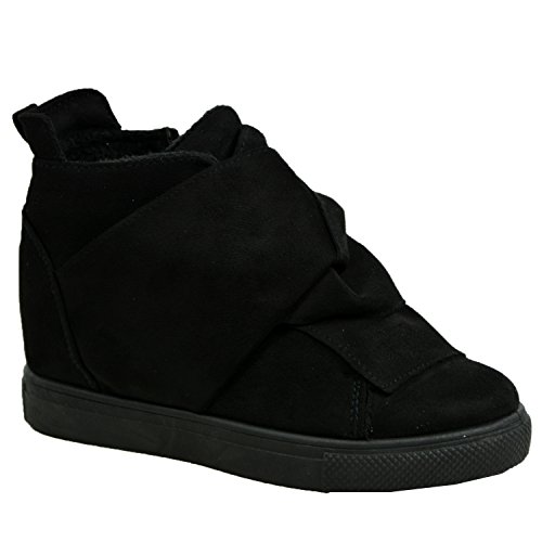 e16dda11513 Cucu Fashion New Womens Ladies Ankle Wrap Wedge Trainers Side Zip Faux  Suede Bow Sneakers Shoes Size ...