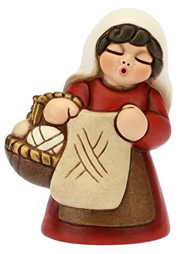 THUN - Donna Che Lavora a Maglia Variante Rossa - Presepe Classico - Ceramica - 6x5x8 cm
