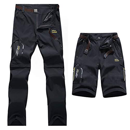7VSTOHS Pantalones de Senderismo de Secado rápido para Hombre con Cremallera Transpirable Ligero Casual al Aire Libre Pantalones de Trekking para Escalada Pantalones Cortos extraíbles