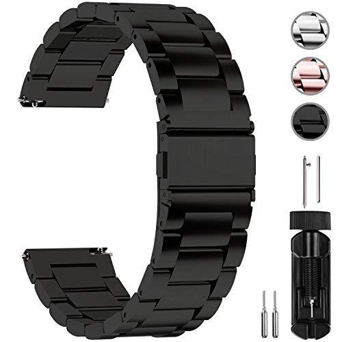 Fullmosa Cinturino Orologio con Sgancio Rapido, Cinturino in Acciaio Inossidabile per Uomo e Donna 14/16/18/20/22/24mm,22mm Nero
