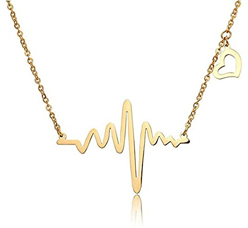Gold Finish Electrocardiogram Heart Beat Metal Alloy Pendant Necklace