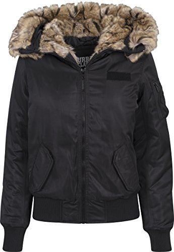 Urban Classics Ladies Imitation Fur Bomber Jacket, Nero (Black 7), Medium Donna