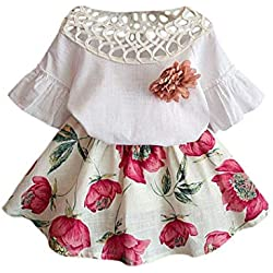 Voberry Girl's New Pretty Summer Short Sleeve Shirt+Flower Skirt Dress Outfits Sets