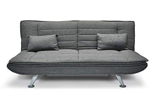 Samira Divano letto clic clac in tessuto grigio - divano 3 posti mod. Iris con cuscini