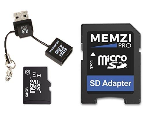 Memzi Pro, scheda di memoria micro SDXC da 64 GB, classe 10, 90 MB/s, con adattatore SD e lettore...