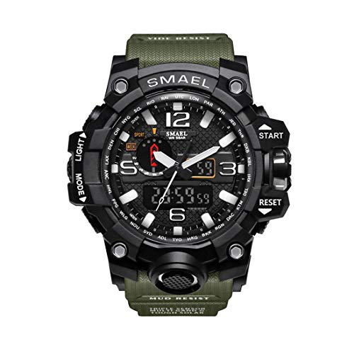 Reloj de Pulsera Digital SKMEI 1545 para Hombres, 57 m. Reloj de Pulsera Impermeable para Deportes al Aire Libre. Escalada. Cronómetro. Reloj Despertador. Negro y Verde.