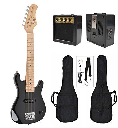 Chitarra elettrica 1/4 per bambini 4-8 anni, completa di amplificatore esterno ed accessori. NERA.