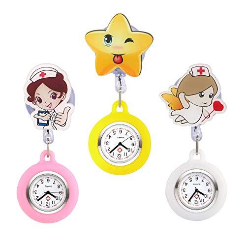 3pcs Jsdde orologio da infermiere in silicone medico carino medico spilla orologio da tasca...