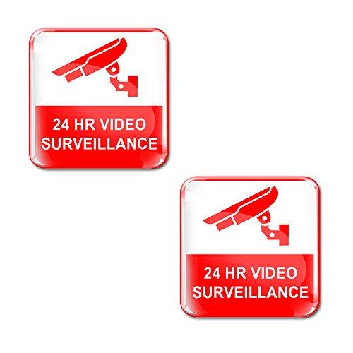 2 x Adesivi Resinati 3D Gel Stickers Warning 24HR 24 Ore Videosorveglianza Videosorvegliata Attenzione Per Auto Moto Finestrìno Porta Casco Scooter Skateboard Bici PC Laptop Tablet Tuning KS 53
