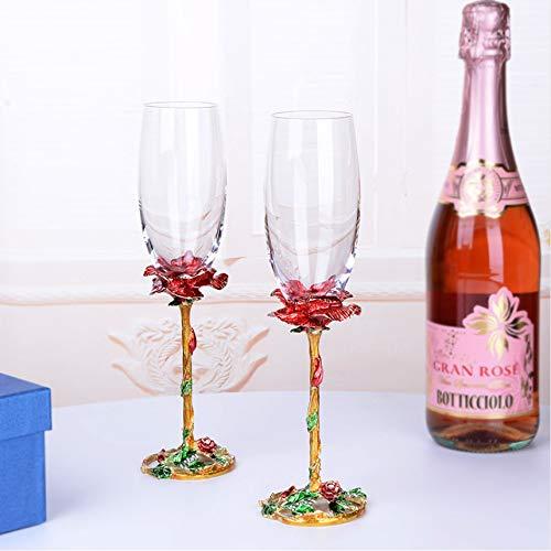 Shengbuzailai Bicchiere di Vino Rosso Smalto Bicchiere di Champagne Senza Piombo colorato con Scatola Regalo Bicchiere da Sposa Domestico Bicchiere di Spumante 1 Coppia 300ml