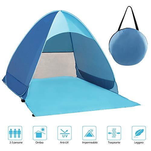 Fenvella Tenda da Spiaggia, Tenda Mare Pop Up Portatile con Protezione Solare UPF 50+ per 2-3...