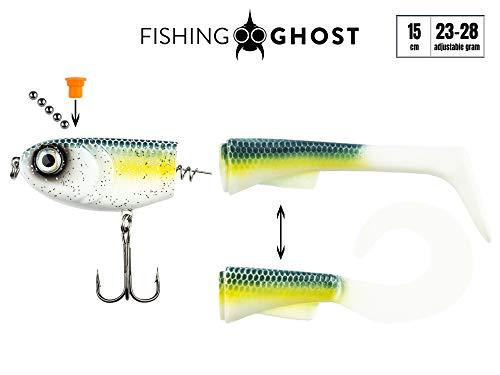 FISHINGGHOST Grumpy Switch, 23-28gr, 15cm, con Coda Intercambiabile, Azione di Nuoto Estremo, Esche da Pesca per la Pesca del luccio, Esca Morbida, Esca per Nuotare, Esca per la Pesca del luccio