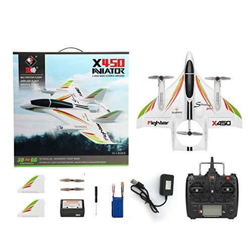Jiobapiongxin XK X450 3D Aerobatic RC Airplane 6 canali Telecomando Atterraggio Verticale Decollo Aereo ad Ala Fissa Elicottero Giocattoli Drone (Bianco)(JIO-T