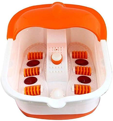 Hojo Foot Spa Footbath and Roller Massager for Pain Relieve and Feet Care (White and Orange)