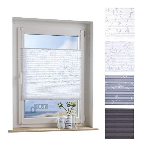 ourdeco® Plissee / 60 x 130 cm weiß, Ausbrenner mit Blumenmotiv/lichtdurchlässig/Klemmen=Montage ohne Bohren=Smartfix=Klemmfix-Plissee=Easy-to-fix