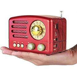 PRUNUS Radio a transistor ricaricabile Bluetooth in stile Classico Retro in Legno FM AM(MW) SW SD USB MP3 con Altoparlanti, Supporta la funzione AUX, Finestra di sintonizzazione circolare di 270°