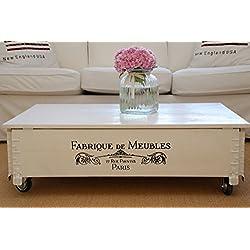Tavolino basso, effetto baule, in legno, stile Vintage Shabby Chic, in legno massiccio bianco