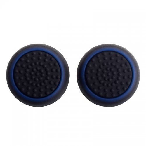 TCOS TECH Silicone Key Protector Thumb Grips Anti-Slip Silicone Cap Cover for PS4 PS3 Xbox One Xbox 360 Controller - Black + Blue (2 Pcs)