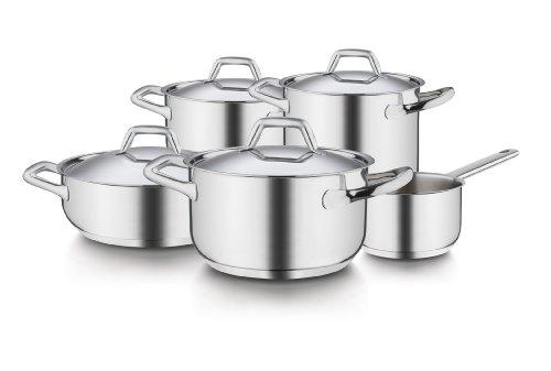 Barazzoni Chef Line Batteria 9 Pezzi, Acciaio Inossidabile, Argento, 22 cm