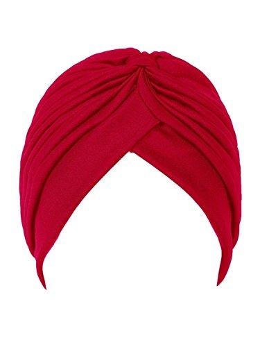 CASTO Women's Polyester Pleated Knit Bonnet Turban (Dark Red, Free Size)