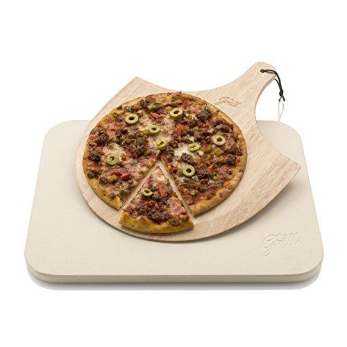 Pietra per pizza Hans Grill, pietra da cottura per forno e barbecue bbq con tavoletta in legno per...