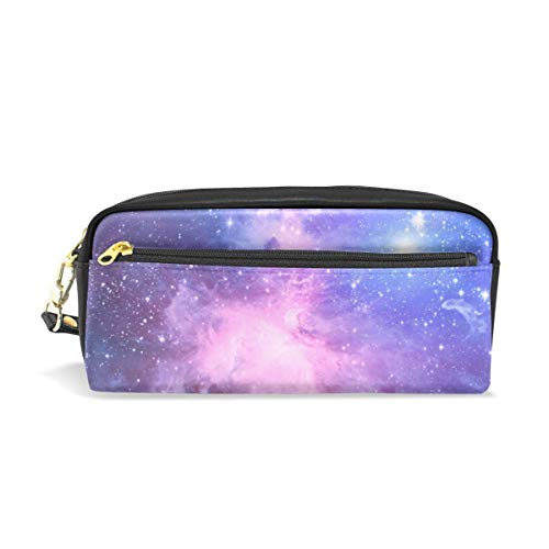 Magical Universe Leather Pen Pencil Case Pouch Holder Cosmetic Makeup Bag for Student Teens