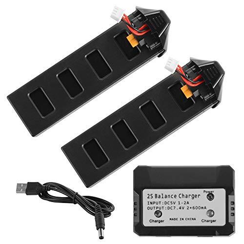 WFHhsxfh Batteria al Litio 25C Li-Poly da 2 Pezzi 7,4 V 1800 mAh con Spina XT-30 + Caricatore 2in1 bilanciamento 2S for MJX B2 RC Drone Quadcopter BC748. Accessori elettronici