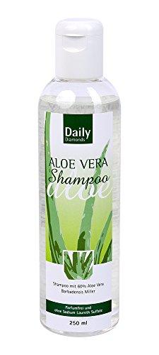 DAILY Diamonds Aloe Vera Shampoo Parfümfrei ohne Sodium Laureth Sulfate 250 ml - hervorragend auch für feines Haar, da es keine Silikone enthält - beschwert das Haar nicht -