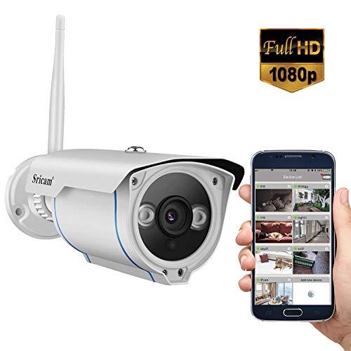 Sricam SP007 Telecamera Wifi Esterno 1080P, con Rilevamento del Movimento, Visione Notturna 15M, IP66 Impermeabile, Controllo Remoto Tramite Smartphone/PC, Bianco