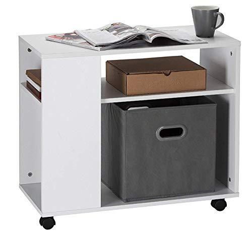 Orolay Mesa para el café con Ruedas en diseño Moderno con repisa (Blanco)