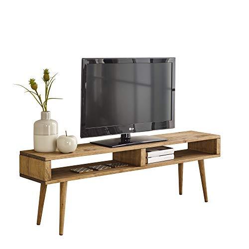 tavolo TV, Mobile TV salotto Design Vintage 2scomparti, Legno massello NATURALE, fabbricazione...