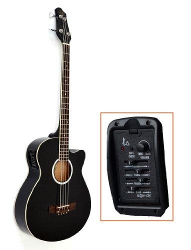 ts-ideen - Basso acustico amplificabile con equalizzatore a 4 canali, pick-up e corde di ricambio