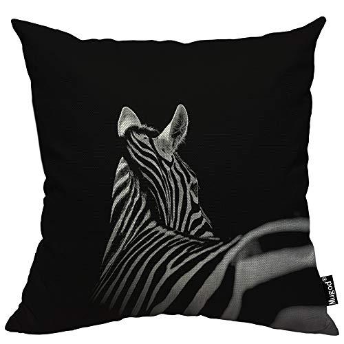 Mugod - Federa Decorativa per Cuscino, Motivo zebrato, Stile Africano, a Righe, in Cotone Bianco e Nero, Quadrata, per Divano e Letto, 45,7 x 45,7 cm