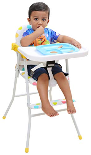 Kurtzy Kids Foldable High chair with Cushion and Safety Belt for Baby (White)