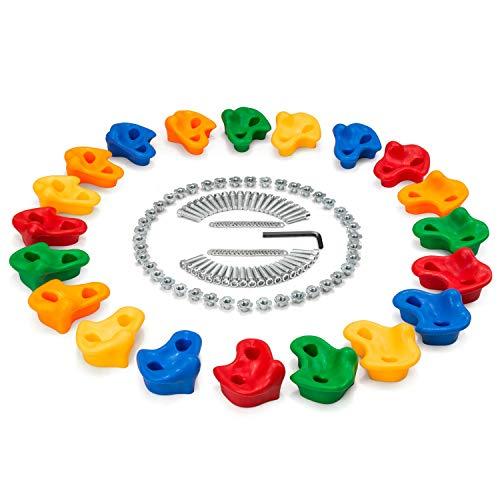 Odoland 20 Zócalos de Escalada Mixtos con la Misma Figura para Niños en elParque de Atracciones Interior/Exterior, Juego de Escalada para Bricolaje (Paredes de Madera)